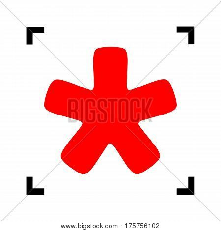 Asterisk star sign. Vector. Red icon inside black focus corners on white background. Isolated.
