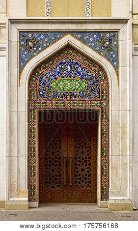 Door decorated with oriental ornament at the entrance to the Literature Museum in Baku, Azerbaijan