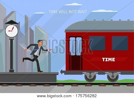 conceptual business illustration on the theme of passing time, businessman is a bit late and the train has left