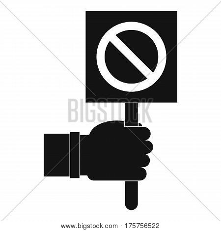 Hand showing stop signboard icon. Simple illustration of hand showing stop signboard vector icon for web