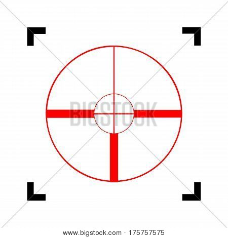 Sight sign illustration. Vector. Red icon inside black focus corners on white background. Isolated.