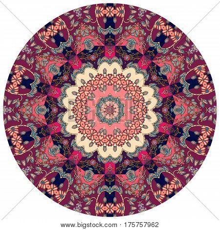 Decorative plate with flower - mandala. Round rug in ethnic style. Beautiful vector pattern for business card, wrapping paper, scrapbook. Print for fabric. Wedding invitation. poster