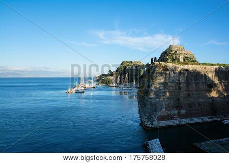 View to The Old Fortress of Kerkyra town Corfu Island Greece.