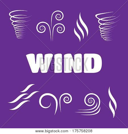Wind icons nature wave flowing cool weather vector
