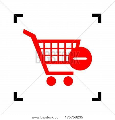 Vector Shopping Cart with Remove sign. Vector. Red icon inside black focus corners on white background. Isolated.