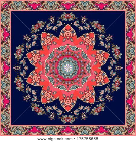 Festive bandana print with bright flower - mandala on dark blue background. Square carpet. Greeting card. Wedding invitation. Packaging design. Lovely tablecloth. Beautiful shawl.