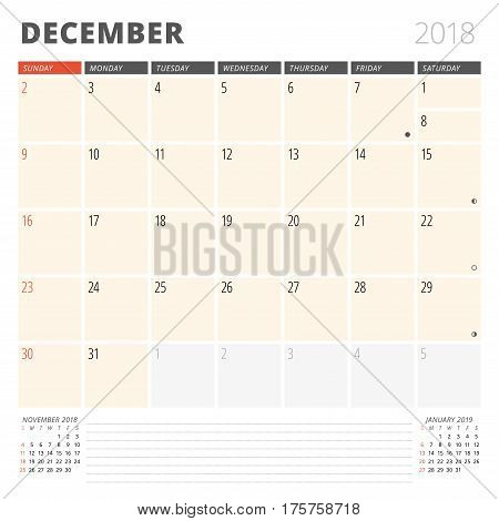 Calendar Planner For December 2018. Design Template. Week Starts On Sunday. 3 Months On The Page