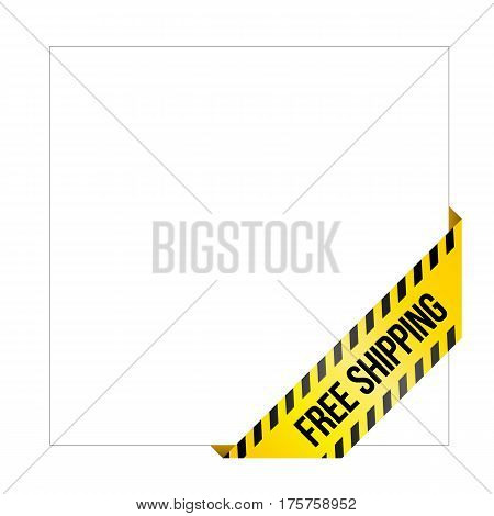 Yellow Caution Tape With Words 'free Shipping'