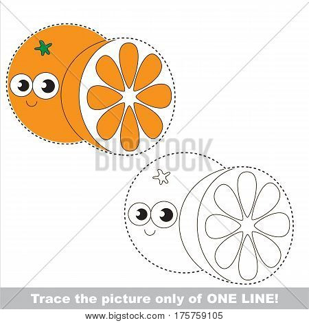 Orange and Slice to be traced only of one line, the tracing educational game to preschool kids with easy game level, the colorful and colorless version.