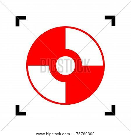 Vector CD or DVD sign. Vector. Red icon inside black focus corners on white background. Isolated.