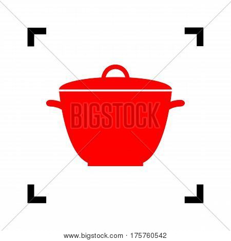 Saucepan simple sign. Vector. Red icon inside black focus corners on white background. Isolated.