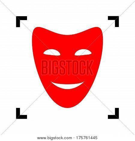 Comedy theatrical masks. Vector. Red icon inside black focus corners on white background. Isolated.