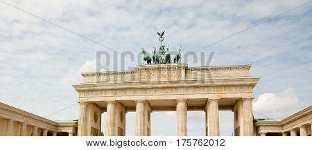 BERLIN, GERMANY The Famous Landmark Brandenburg Gate In Berlin, Closeup. Wide Horizontal Image
