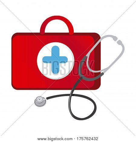 red suitcase health with stethoscope icon, vector illustraction design