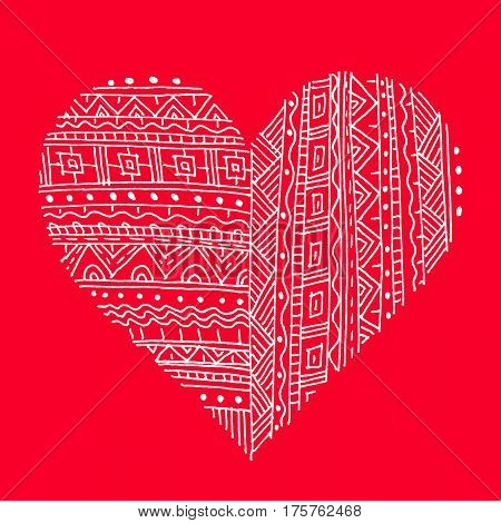 White abstract pattern heart on red bright background