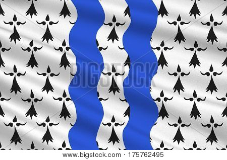 Flag of Ille-et-Vilaine is a department of France located in the region of Brittany. 3D illustration