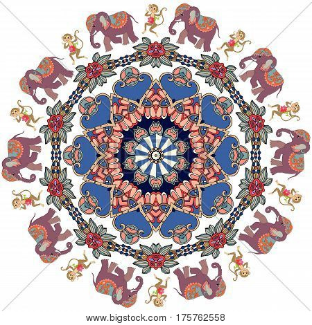 Festive print in african style. Poster with cute animals and flower-mandala. Round pattern with dancing monkeys and cartoon elephants. Greeting card, wrapping design. Vector illustration.