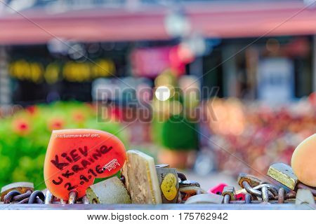 Bangkok, Thailand - January 9, 2016: Juliet Love Garden with its many Love padlocks in Asiatique The Riverfront. Locks of love with a large inscription in English: Kiev, Ukraine. Selective focus