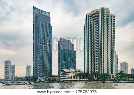 Bangkok, Thailand - January 9, 2016: The Peninsula is a luxury hotel located on the bank of the Chao Phraya river in the Khlong San district. Downtown of Bangkok.