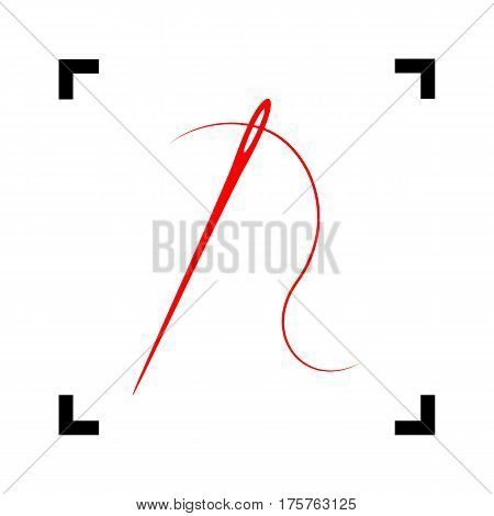 Needle with thread. Sewing needle, needle for sewing. Vector. Red icon inside black focus corners on white background. Isolated.