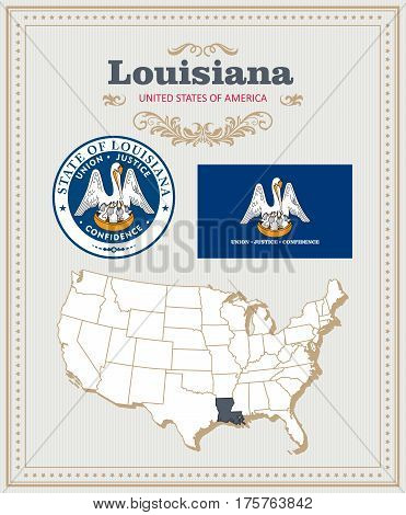 High detailed vector set with flag, coat of arms, map of Louisiana. American poster. Greeting card from United States of America. Colorful design