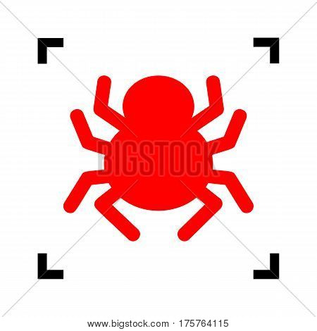 Spider sign illustration. Vector. Red icon inside black focus corners on white background. Isolated.