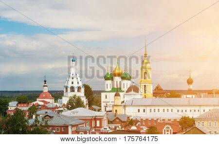 Kolomna Kremlin is a very large fortress in Kolomna Russia. On its territory there are many Russian churches and monasteries: The Uspensky cathedral the Voskresenky church.