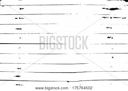 Monochrome distressed vector texture. Wooden planks surface traced image. Vintage overlay in black and white. Timber board background.