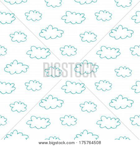 Abstract cloud pattern with lovely hand drawn clouds. Cute vector cheerful doodle cloud pattern. Seamless cartoon cloud pattern for fabric, wallpapers, wrapping paper, cards and web backgrounds.