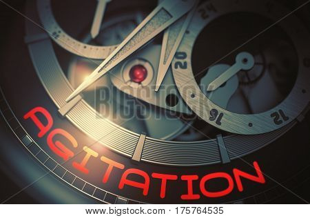 Agitation - Elegant Watch Inside Mechanism Closeup with Inscription on the Face. Automatic Watch with Agitation Inscription on Face. Work Concept with Lens Flare. 3D Rendering.