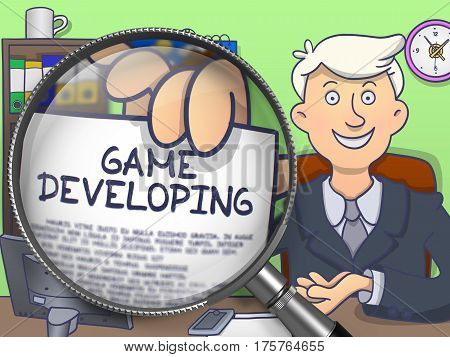 Man in Suit Holds Out a Text on Paper Game Developing Concept through Magnifying Glass. Closeup View. Colored Modern Line Illustration in Doodle Style.