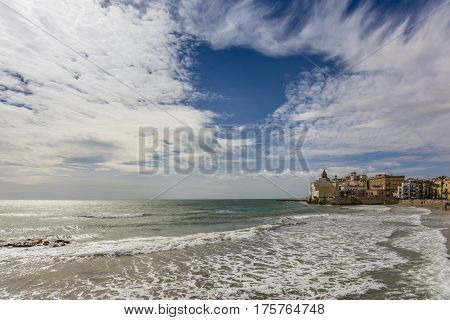 Wide angle view of the San Sebastian Beach, Sitges. Mediterranean sea in spanish coast.