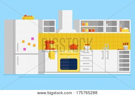 Convenient modern kitchen flat vector design illustration with fridge, freezer, stove, cooker hood, pot, mixer, drawers, cupboard, glasses and other kitchen elements.
