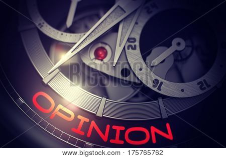 Opinion on Mechanical Wristwatch Detail, Chronograph Up Close. Time and Work Concept with Lens Flare. 3D Rendering.
