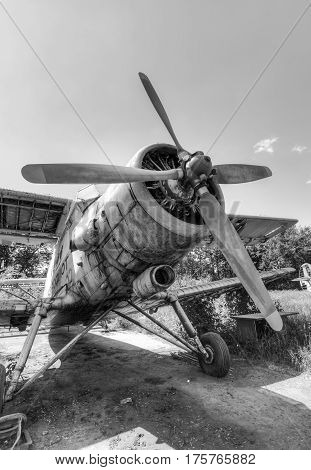 SAMARA RUSSIA - MAY 22 2015: The Antonov An-2 a Soviet mass-produced single-engine biplane at an abandoned aerodrome