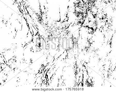 Obsolete texture of tree trunk bark. Distressed vector overlay for vintage effect. Monochrome layer with worn marks. Weathered surface with black drips. Shabby chic background. Vintage rough texture
