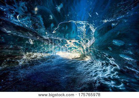 Blue ice cave in Vatnajokull glacier Iceland