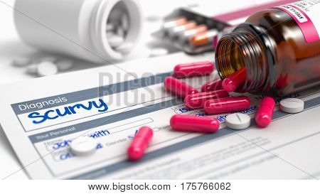 Handwritten Diagnosis Scurvy in the Anamnesis. Medicaments Composition of Red Pills, Blister of Pills and Bottle of Tablets. Scurvy Phrase in Disease Extract. Close Up View of Medicine Concept. 3D.
