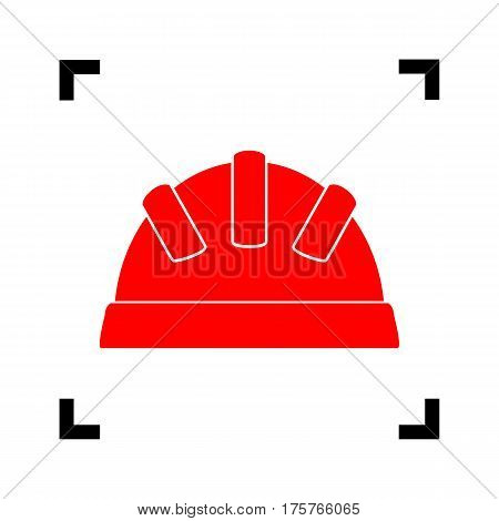 Baby sign illustration. Vector. Red icon inside black focus corners on white background. Isolated.