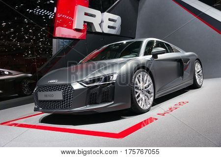 GENEVA SWITZERLAND - MARCH 4 2015: Official debut of the New Audi R8 V10 Plus at the 85th International Geneva Motor Show in Palexpo.