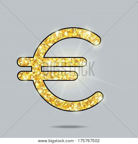 shiny golden sign of a currency euro with sparks and glow, levitating in gray space, pure miracle