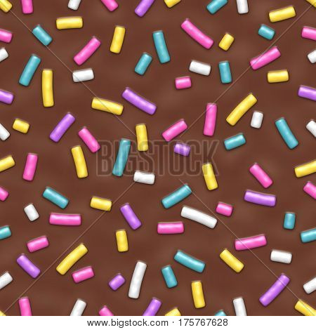 Seamless pattern of chocolate donut glaze with many decorative sprinkles. Vector illustration Eps 10