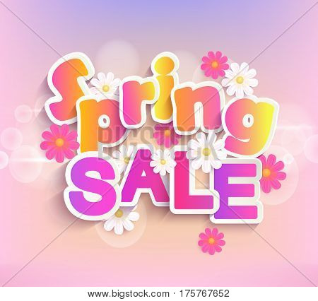 Spring sale label with beautiful flower. Vector illustration template and banners, wallpaper, flayers, invitation, posters, brochure and voucher discount.
