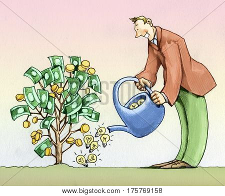 Man watering a plant with bulbs that produce money