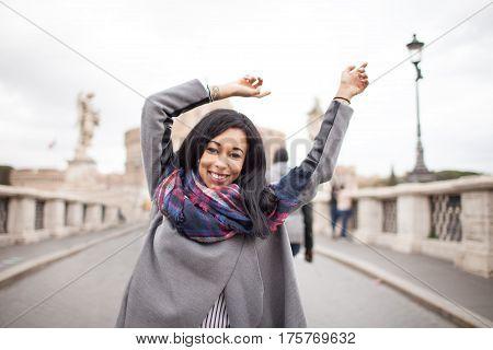 Happy Female Tourist On Sant Angelo Bridge Rome Italy