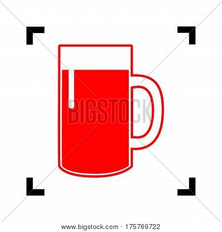 Beer glass sign. Vector. Red icon inside black focus corners on white background. Isolated.