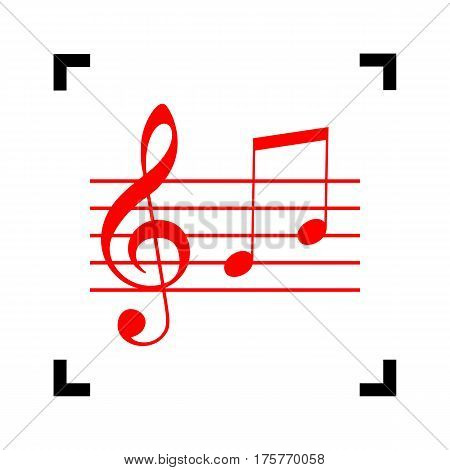 Music violin clef sign. G-clef and notes G, H. Vector. Red icon inside black focus corners on white background. Isolated.