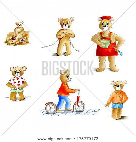 Funny bear family llustration