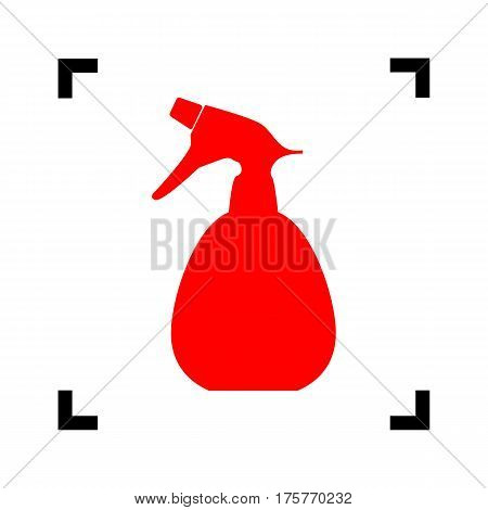 Spray bottle for cleaning sign. Vector. Red icon inside black focus corners on white background. Isolated.
