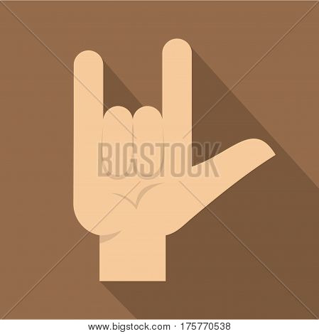 Rock gesture icon. Flat illustration of rock gesture vector icon for web